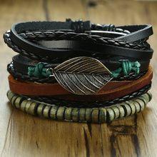 Vnox Mix 4 sztuk/zestaw pleciony szal skórzane bransoletki dla kobiet mężczyzn w stylu Vintage drewniane koraliki etniczne plemienne bransoletki opaski ster(China)