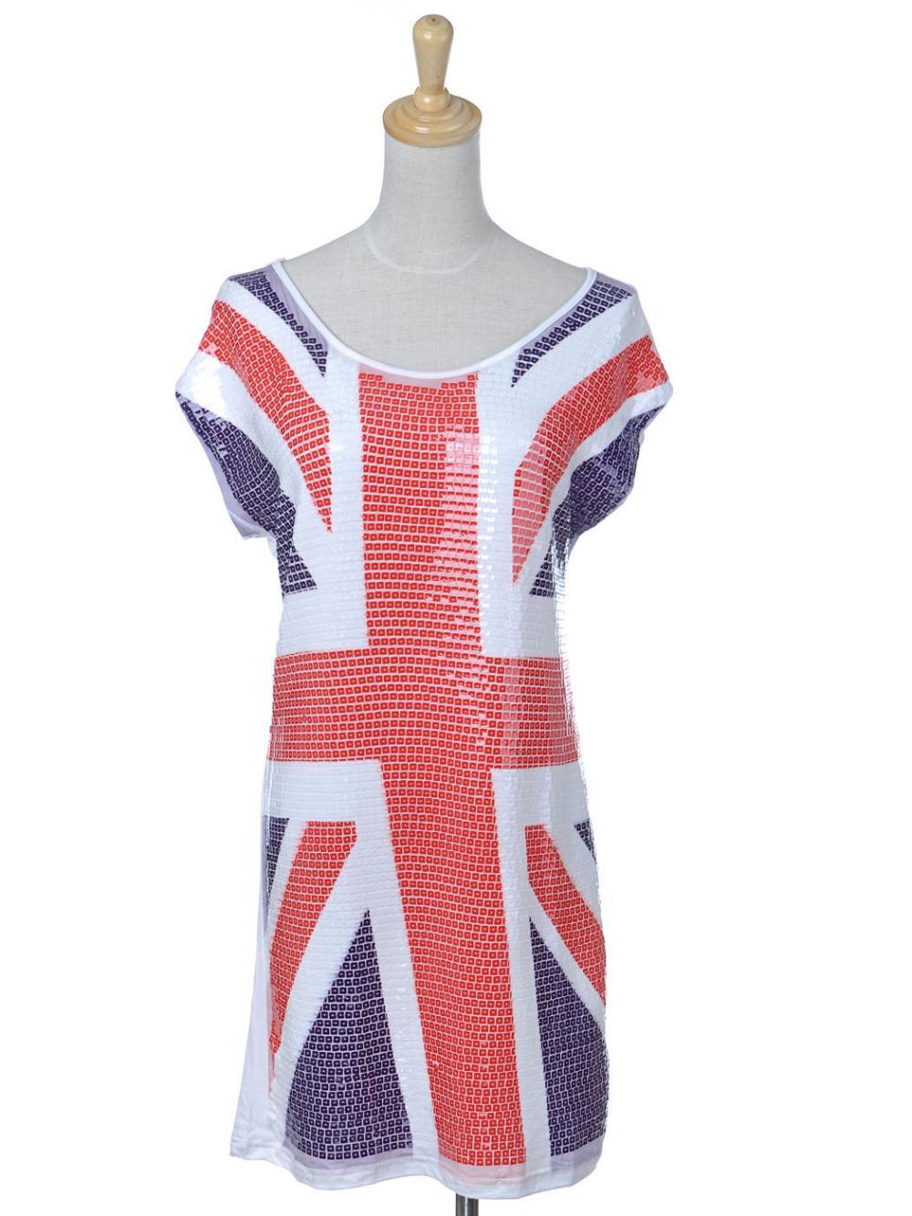 Femmes S/M Fit Rouge Blanc Bleu Britannique Drapeau Emblème Sequin De Mode T-Shirt Robe(China (Mainland))