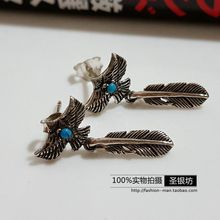 Authentic Thailand imported 925 Sterling Silver Eagle Feather Earrings with personality punk Turquoise(China (Mainland))
