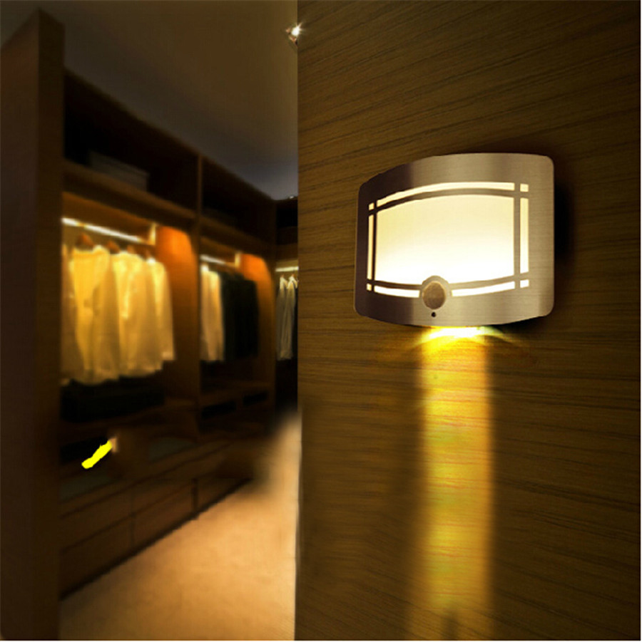 Night Light 10LEDS Wireless Infrared PIR Motion Sensor LED Lights Wall Sconce Battery Powered ...