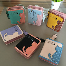 Lovely Cat Printed Purse Women New Fashion short Wallet Bags PU Handbags Card Holder Bulk purchase wf(China (Mainland))