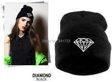 autumn & winter diamond hat for women knitted slouchy beanie,Spain gorros womens bonnet,Skull Chunky Baggy  warm head Cap,WTL(China (Mainland))