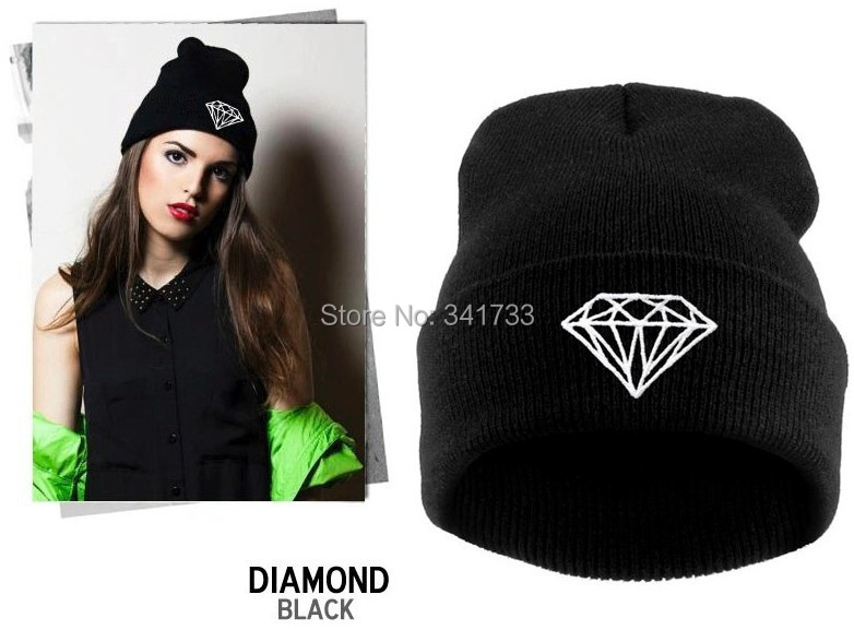 autumn & winter diamond hat for women knitted slouchy beanie,Spain gorros womens bonnet,Skull Chunky Baggy warm head Cap,WTL(China (Mainland))
