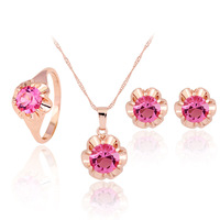 Romantic Luxury Zircon Necklace Earrings Ring Sets Bridal Wedding Jewelry Set Bijoux 18K Gold Plated Flower Crystal Sets