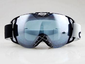Черный и лозы полосы каркас лыжная сноуборде очки ANTI-FOG двойной серый синий объектива