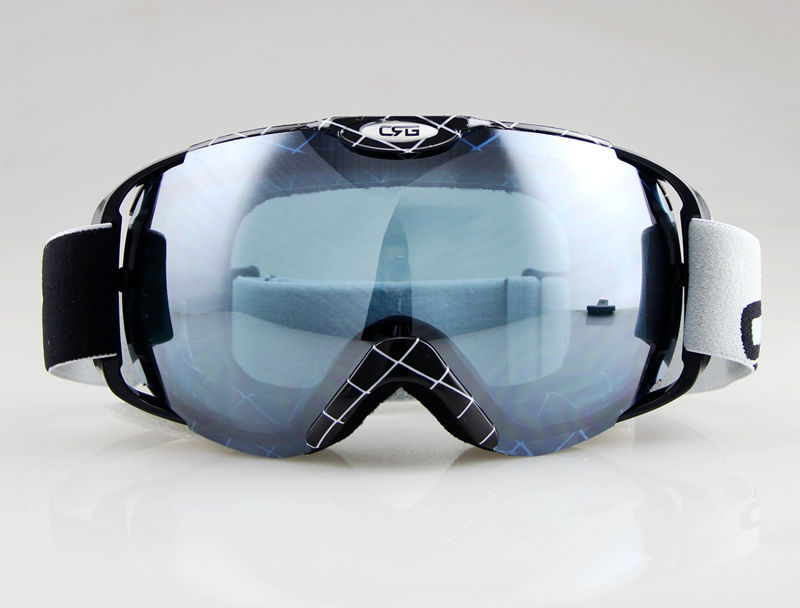 Гаджет  BLACK&WITHE STRIPES FRAME SKI SNOWBOARD GOGGLES ANTI-FOG DOUBLE GRAY BLUE LENS None Спорт и развлечения