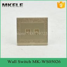 Золотой цвет универсальный электрический тел и компьютер розетка розетка, настенный блок питания розетка, мини сенсорный выключатель