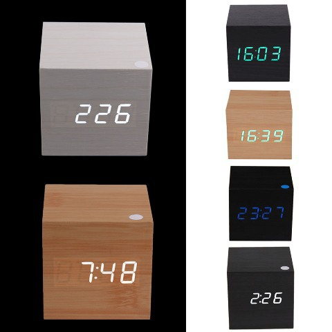 Free Shipping Modern Wooden USB/AAA Powered Digital LED Desk Alarm Clock Thermometer #gib(China (Mainland))