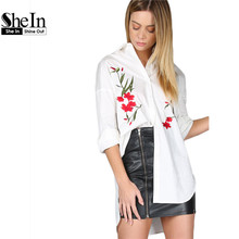 Buy SheIn White Flower Embroidered High Low Blouse Womens Tops Blouses Vintage Lapel Long Sleeve Spring Women Shirt for $18.97 in AliExpress store