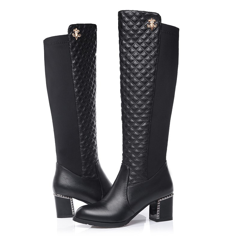 Soft PU Leather Black Sexy Fashion Women Winter Knee High Boots,2014 N