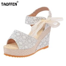 Buy Ladies Wedges Sandals Women Platform Ribbon Sandalopen Toe High Wedges Summer Shoes Beach Vacation Female Footwears Size 35-40 for $13.98 in AliExpress store