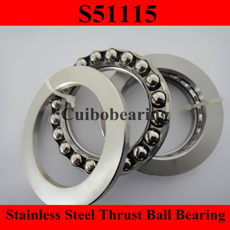 Фотография  S51115 75x100x19mm 75*100*19mm stainless steel thrust ball bearing 51115