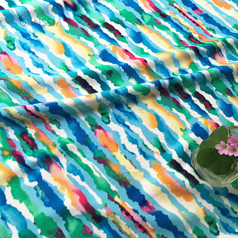 60s Good quality aole fiber viscose fabric for summer dress Colorful strip printed soft fabric Garment accessories(ss-7202)(China (Mainland))