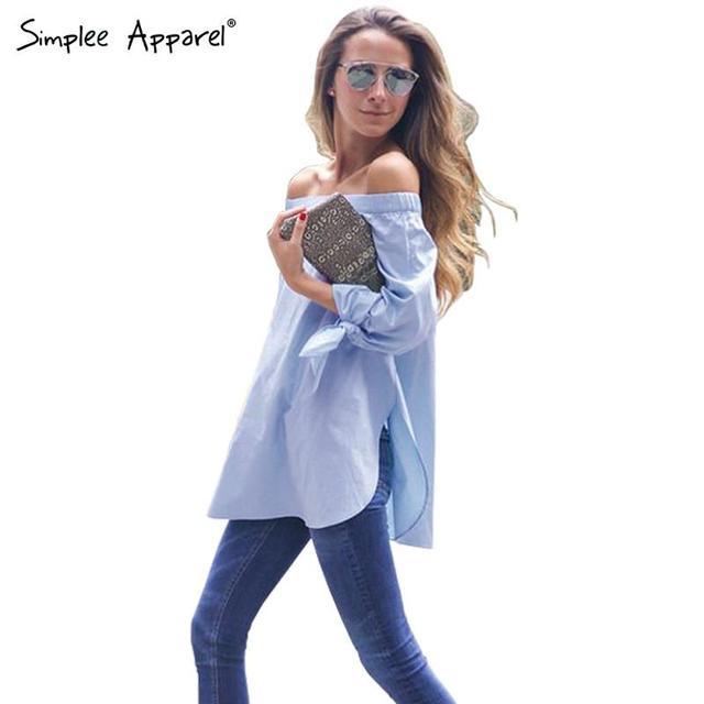 Simplee одежды изящный бант синий-плеча женский блузка рубашка сексуальный летом ...