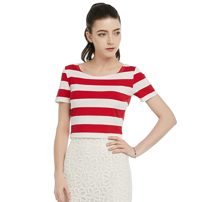 2016 Summer Fashion Sexy Club shirt O-Neck Cotton Stripe Slim Short Tops Sexy Navel Red and White stripe T shirt(China (Mainland))