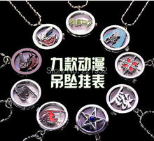 Tokyo Anime Hatsune food species vampire Fairy Tail Tomb notes vintage pocket watch pendant necklace 10pcs(China (Mainland))