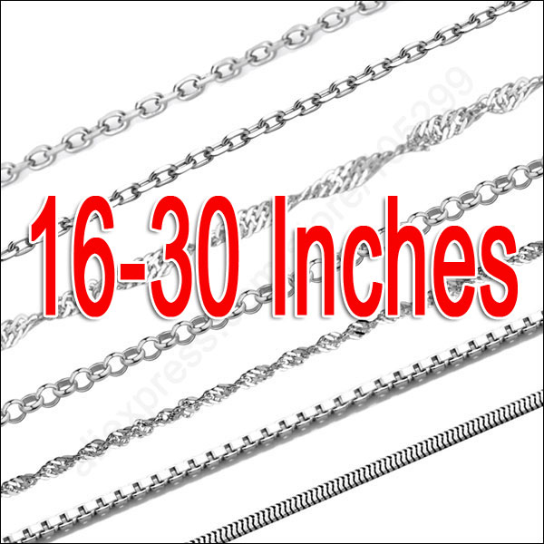 Smaple 10Pcs 16 30 Mix 10 Style Genuine 925 Sterling Silver Jewelry Snake ROLO Figaro Necklace