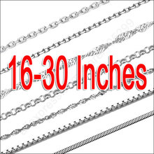 Smaple 10Pcs 16-30″ Mix 10 Style Genuine 925 Sterling Silver Jewelry Snake ROLO Figaro Necklace Chains With Lobster Clasps