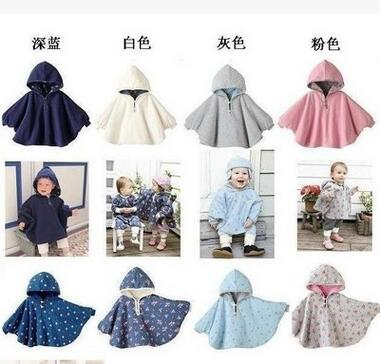 heat! 2016 wool coat baby cloak baby 2 - outer flowers cover poncho coat baby 1-2 years old children's clothing free shipping(China (Mainland))