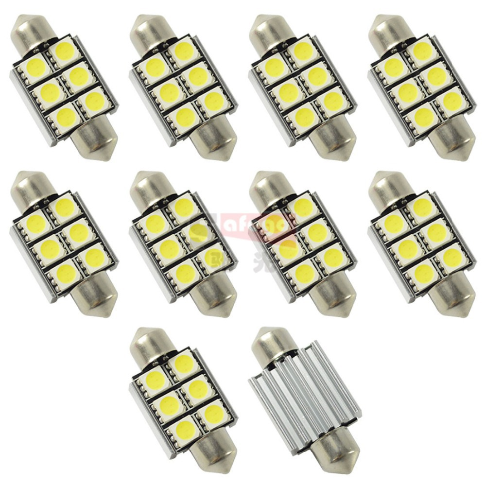 10 x Ultra bright festoon led C5W led 36mm canbus heat fin 6SMD 5050 c5w 36mm led canbus c5w for car license plate light bulb(China (Mainland))