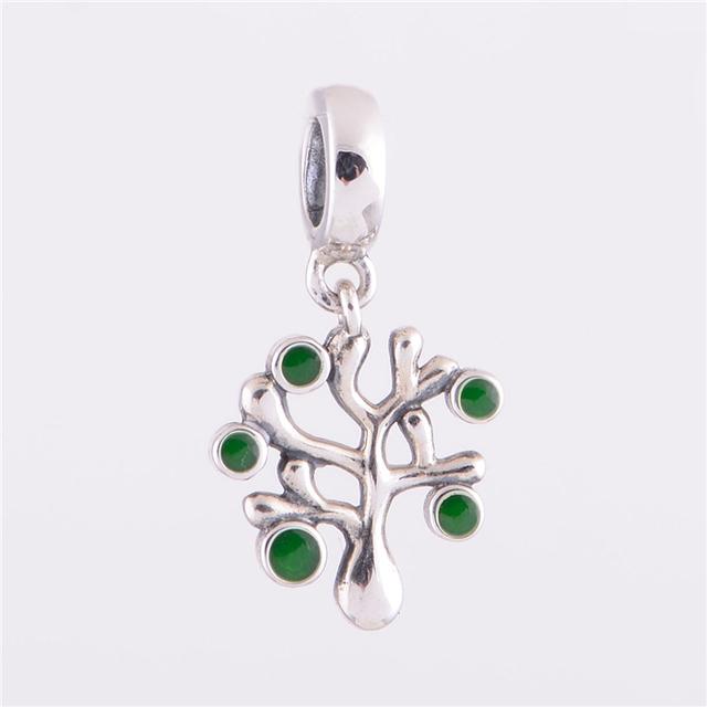 925 стерлингового серебра мотаться бусины зеленый кристалл древо жизни шарм женщины ювелирные изделия DIY подходит для Chamilia европейский шарм браслет YZ301
