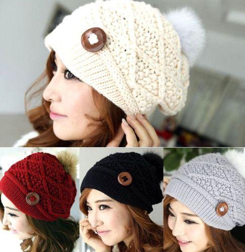 FD1999 Beautiful Winter Warm Hat Women Button Crochet Knit Ski Beanie Ball Wool Beret Cap(China (Mainland))