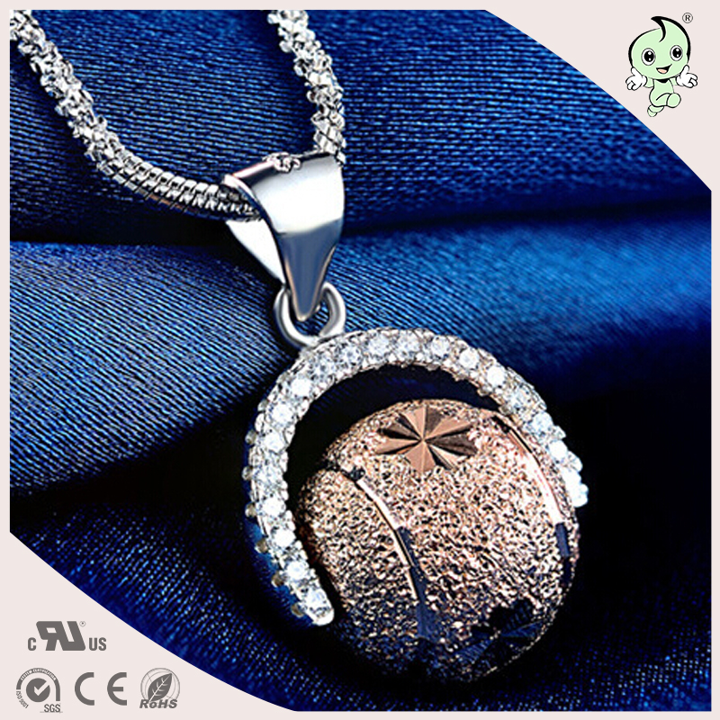 Best Quality Trendy Rose Gold Genuine Silver Globe Shape Pendant(China (Mainland))