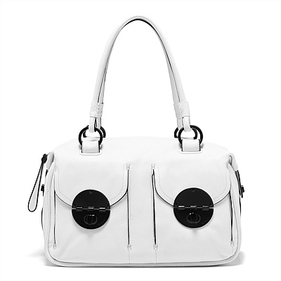 FREE SHIPPING MIMCO LOVES WHITE MAT BLACK TURNLOCK ZIP TOP<br><br>Aliexpress
