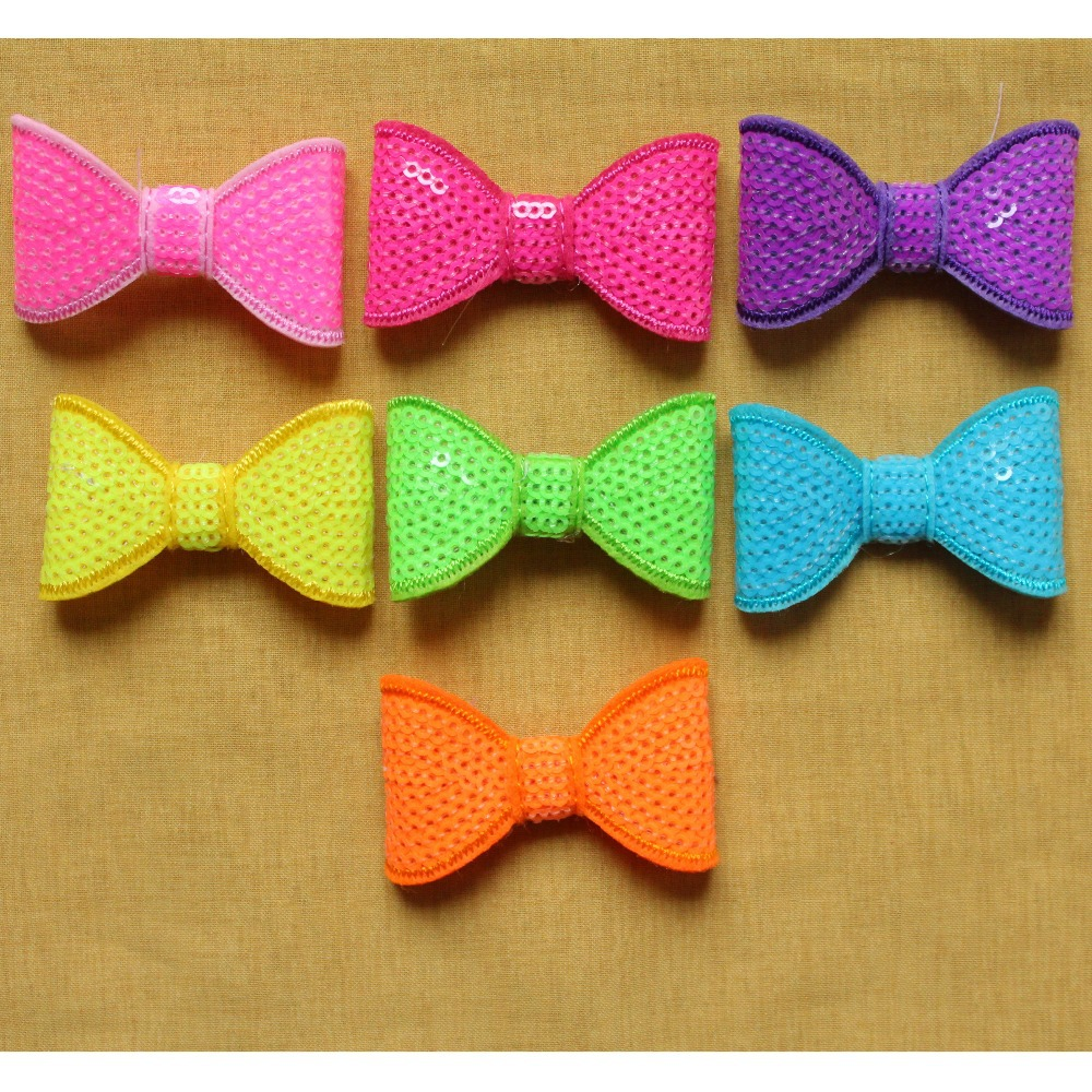 1000pcs one color custom neon colors sequin bow Hair Accessories,BF096(China (Mainland))