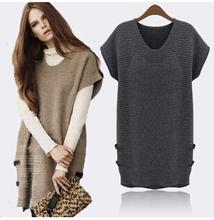 Plus Size 5XL 2015 New Fashion Women Sweater Loosen Slimming Women long Pullover Short Sleeve Women Winter Pullovers XB229(China (Mainland))