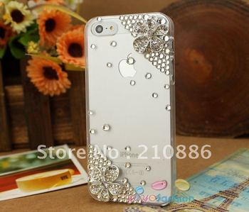 Fashion mobile phone case cover for iphone5/5G,fashion 2 flowers,Rhinestone Crystal Diamond pearl,Free shipping