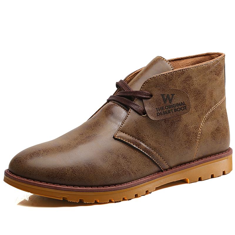 Retro PU Leather Men Boots Casual 2015 Winter Martin Boots Men Ankle Boots Motorcycle Leather Short Outdoor Men Shoes Botas Red
