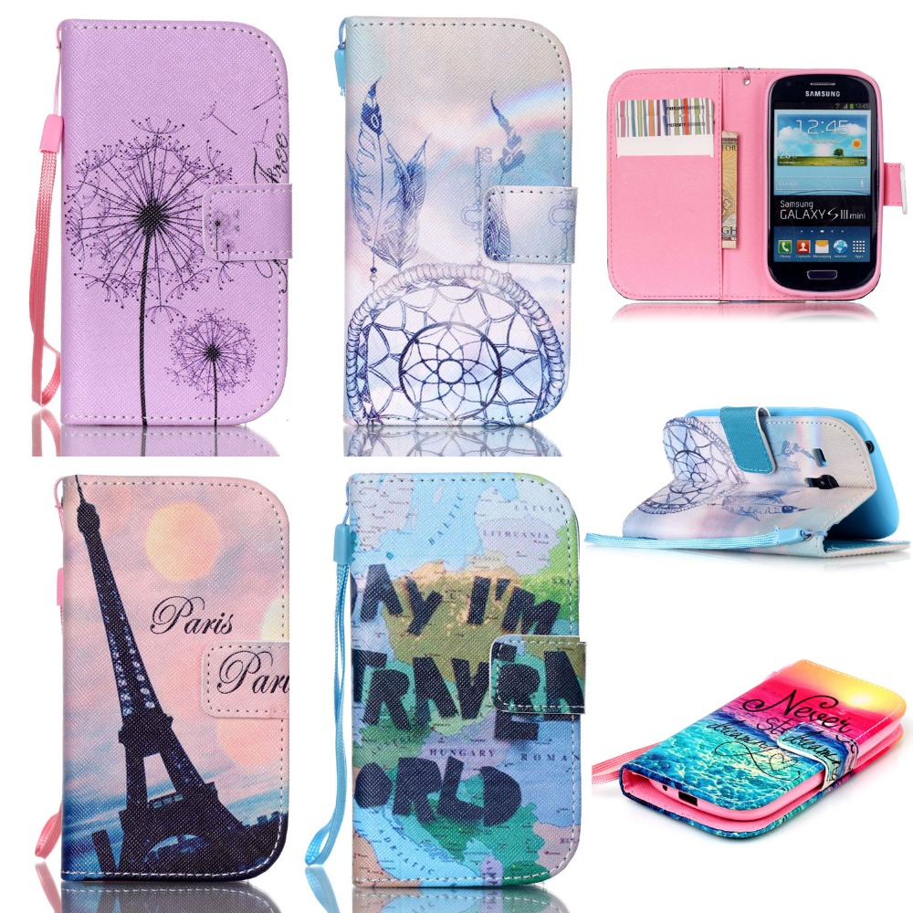Magnet Flip Case For Samsung Galaxy S3 Mini i8190 Colorful Painting PU Leather Wallet Cell phone Case Cover with Card Holder(China (Mainland))