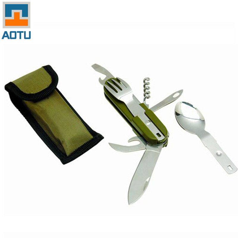 Aotu Sambo Outdoor Multifunctional Folding Knife Fork Spoon Bottle Opener Tableware Camping Cookware Equipment WD-IJB004(China (Mainland))