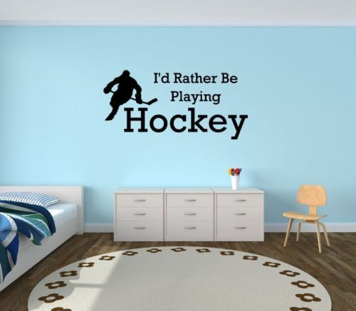 I\\\'d rather be playing hockey vinyl wall decal Quote Sport Wall sticker Home decor