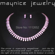 New 2015 Trendy AAA Zirconia Necklace Stud Earring Sets Women Gift Free Shipping 18K Real White Gold Plated Bridal Jewelry Sets(China (Mainland))