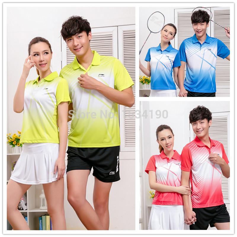 2015 Li-Ning Badminton shirt , Polyester Men's and Women's Tennis Shirt Team Sports Apparel , Badminton clothes(China (Mainland))