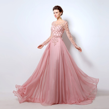 2016 Illusion Formal Long Evening Dresses Sheer Full Sleeves Fashion Beading Crystal Women Prom Gowns vestidos de noche LX051(China (Mainland))