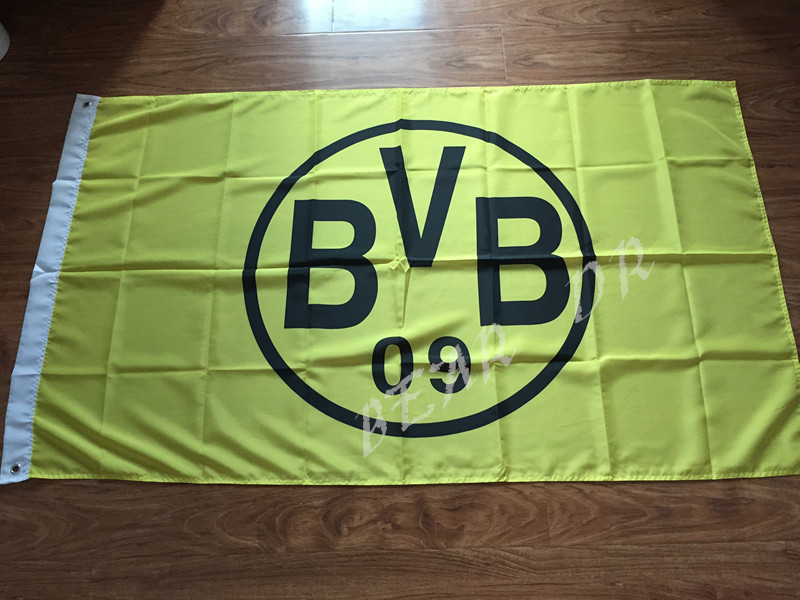3x5ft Dortmund soccer team flag Gear 150X90CM 100D high quality printing activity banner decorative banner brass metal hole(China (Mainland))
