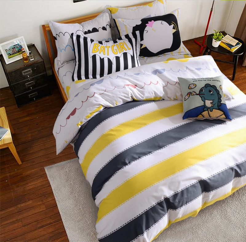 gris et jaune housse de couette achetez des lots petit. Black Bedroom Furniture Sets. Home Design Ideas