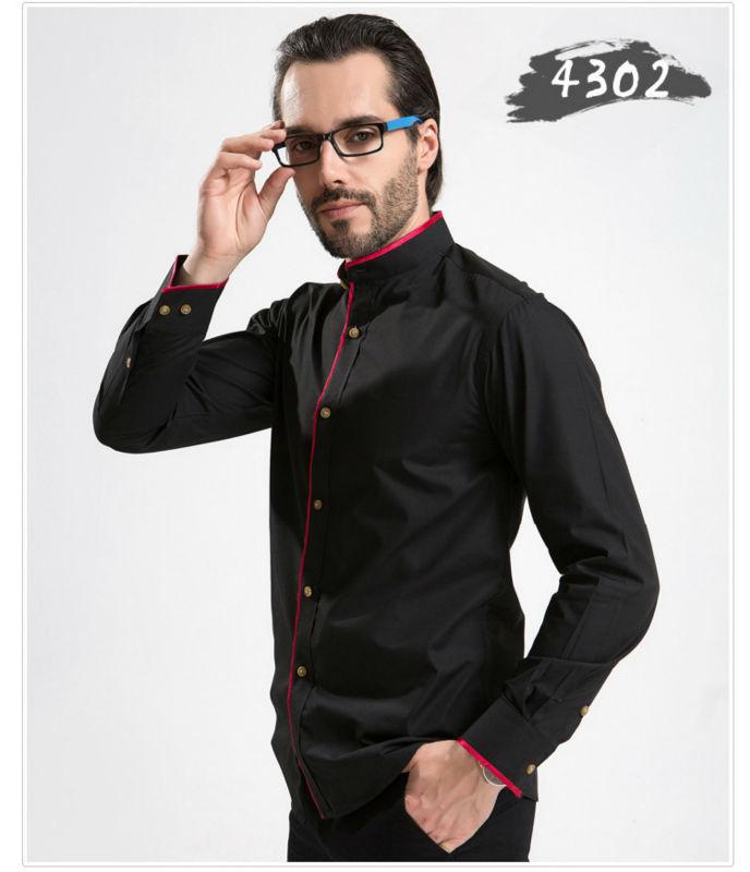 2014 New Men dress Shirts Man Casual Slim Long Sleeve shirt Male Spring Autumn Cotton Tops Male Classic Mandarin Collar Clothing