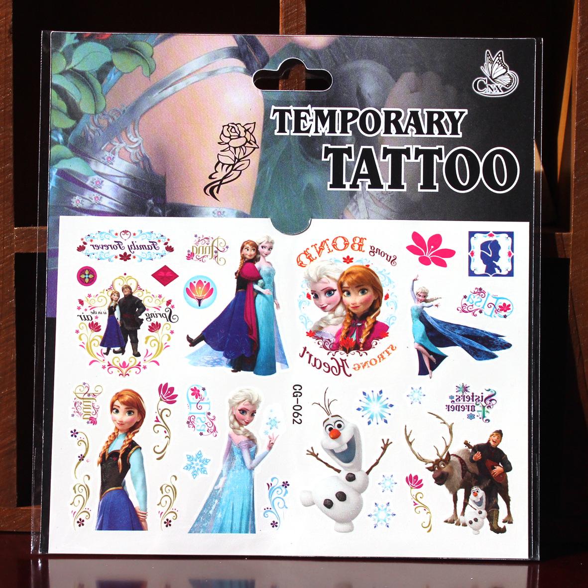 2016 New Children Cartoon Temporary Tattoo Stickers Crystal Transfer Waterproof Brand Elsa Girls a Summer Free Shipping(China (Mainland))