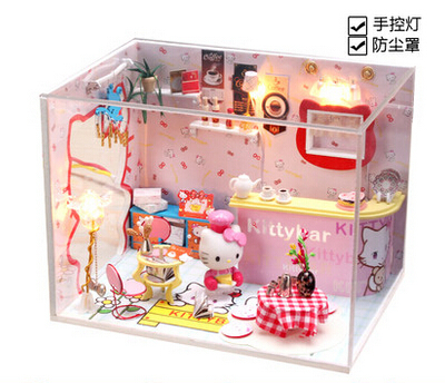 diy colorful doll house with furniture toys model great gift for birthday handmade wooden doll house(China (Mainland))