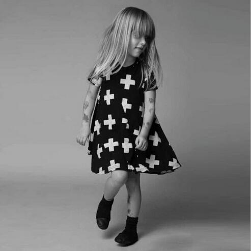 2015 brand Nununu cross printed dress Baby girls dress kids children short sleeve fashion spliced princess girl dresses T1169(China (Mainland))