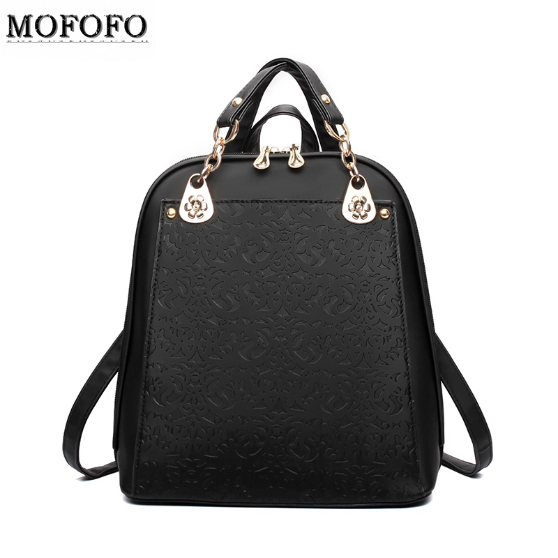 Famous Brand Backpack Women Floral Backpacks Solid vintage School Bags Girls black leather backpack mochilas mujer 2016 - Enjoy your life international trade co., LTD store