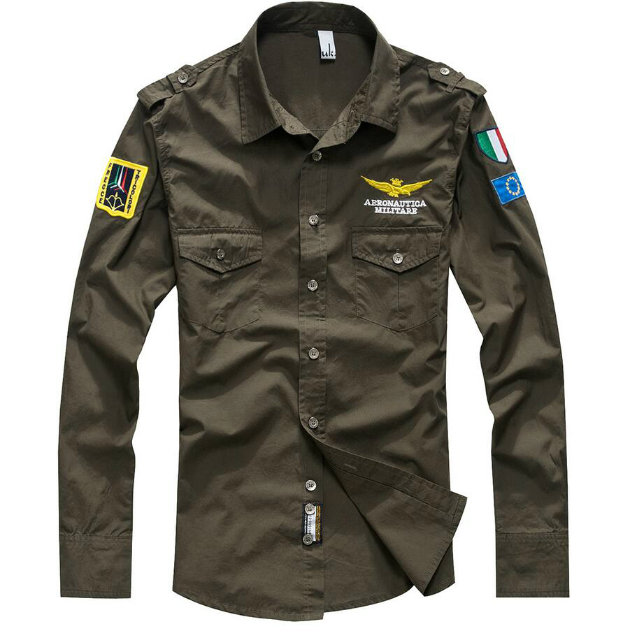 Military Style Army Shirt For Men Air Force Embroidery