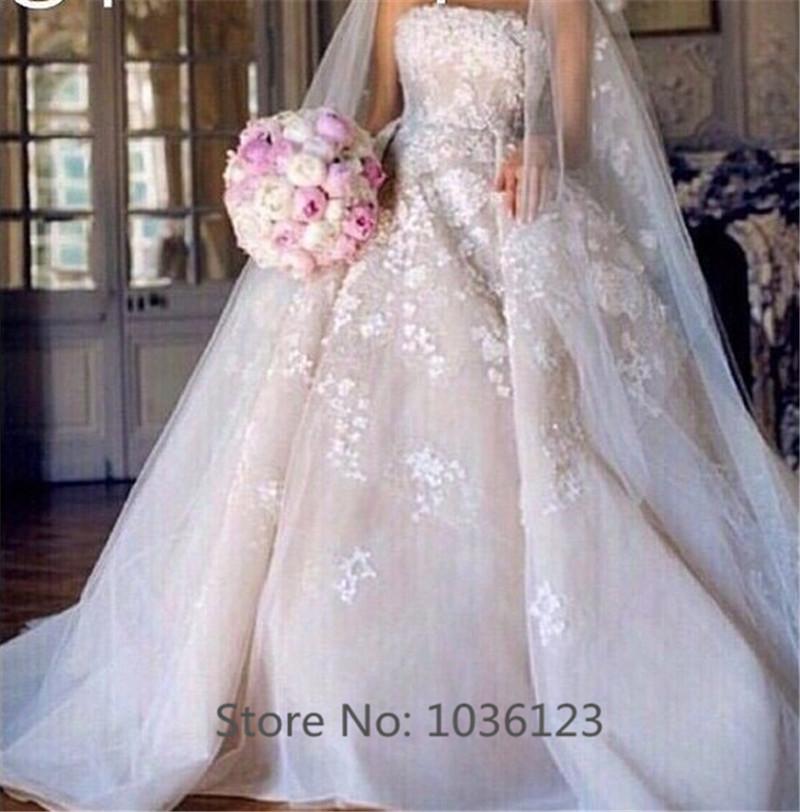 Vestidos de noiva Long Elegant Sweep Train Handmade Customized Ball Gown Wedding Dresses 2015 Wholesale Fashionable