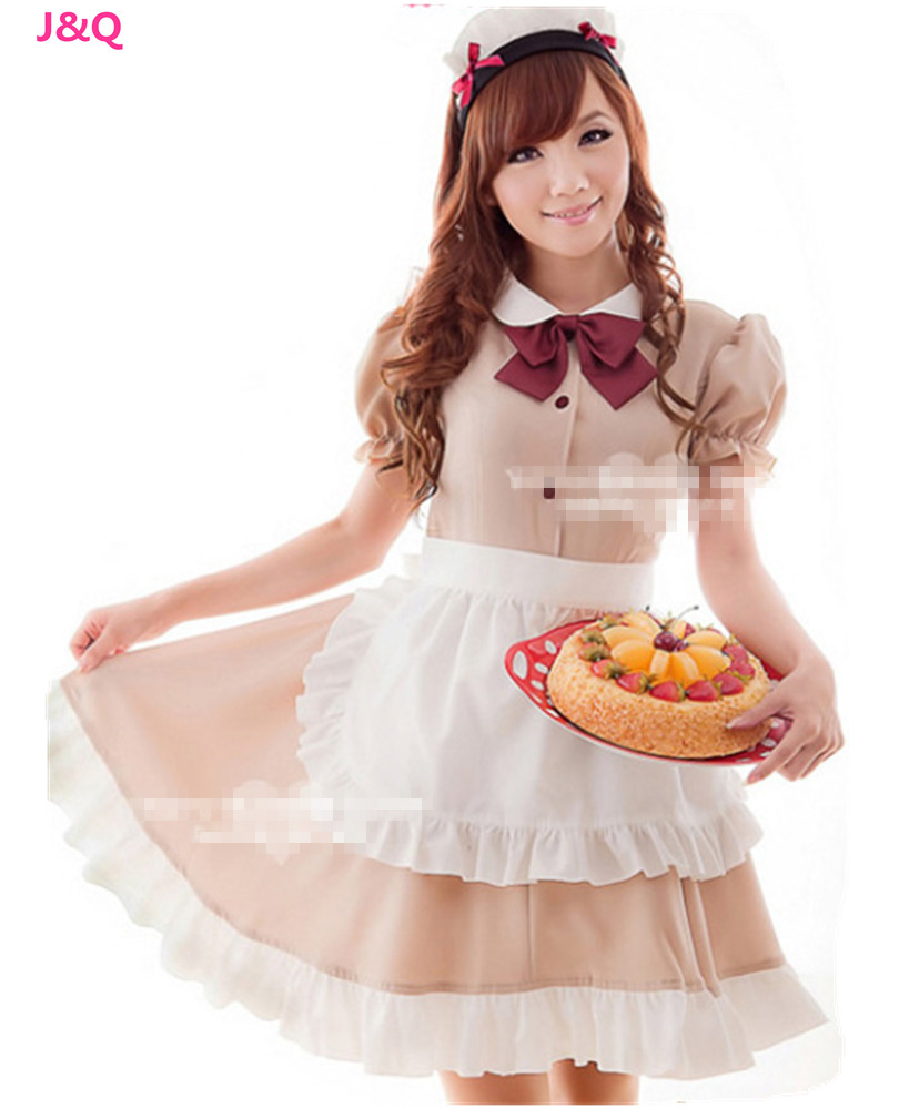 Brown Maid Outfits Restaurant Waiters Cosplay Female Clothing Japanese Anime Halloween Costumes H1671810 - Professional Co.,Ltd store
