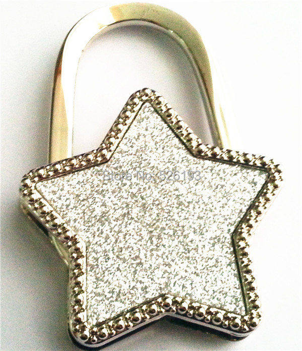 Silver Popular Table Bling Star Foldable Purse Hanger Hangbag Hook Safer Cleaner Bag Hot Sale 2015(China (Mainland))