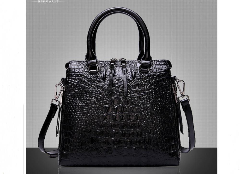 Women's Genuine Leather Purse Handbag Crocodile Satchel Tote Shoulder Bag Soft Cowhide Office Lady Work Crossbody Strap Silky(China (Mainland))